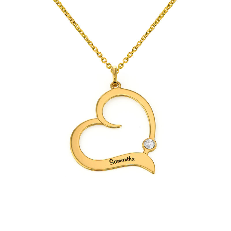 Personalised Birthstone Heart Necklace in 18ct Gold Vermeil