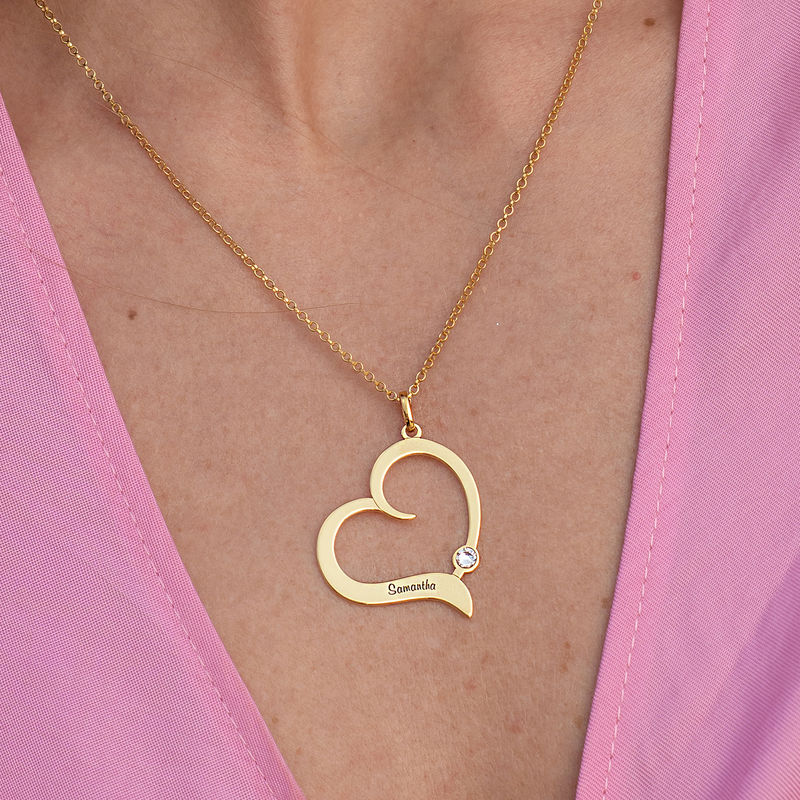 Personalised Birthstone Heart Necklace in 18ct Gold Vermeil - 2