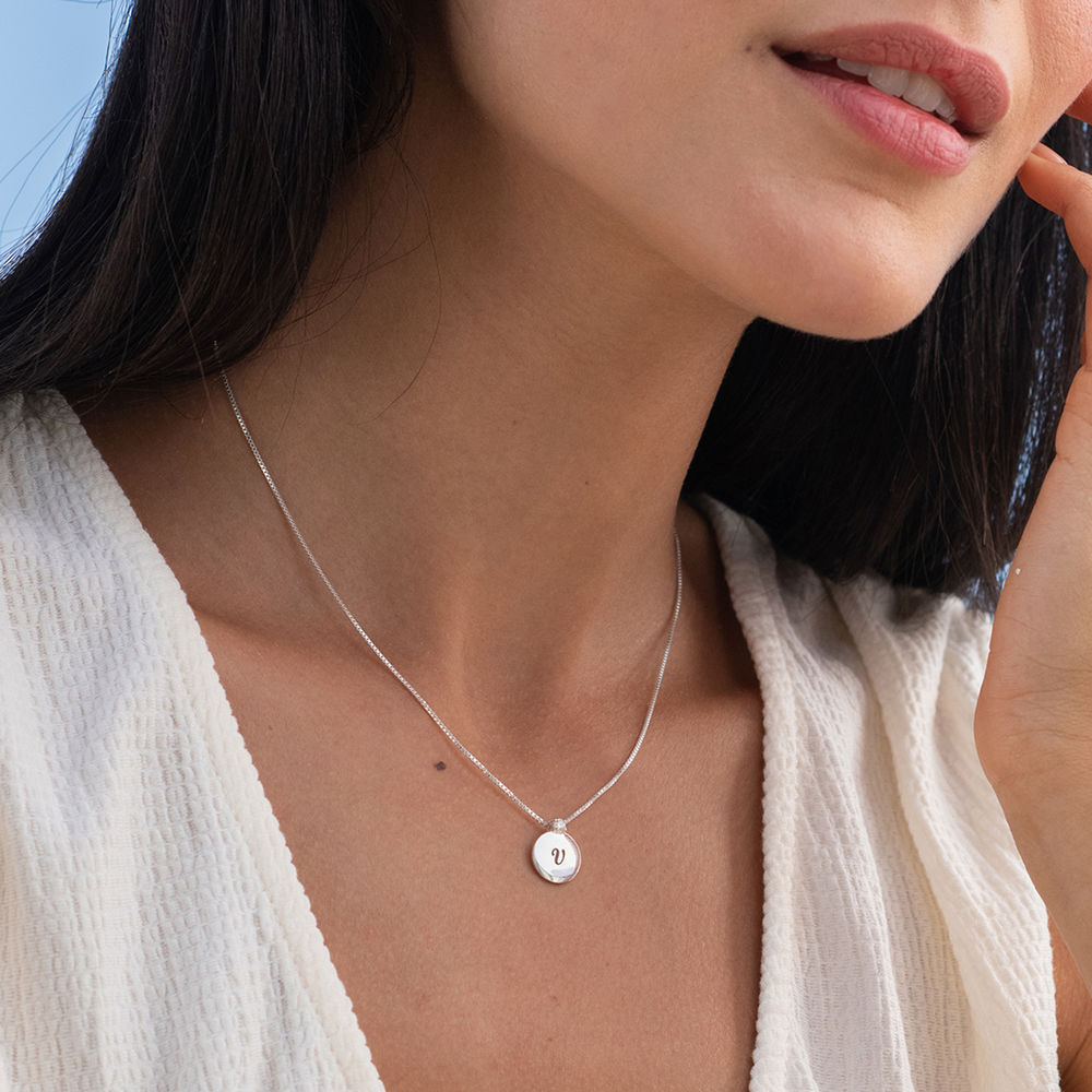 Small Circle Initial Necklace with Diamond in Sterling Silver - 1