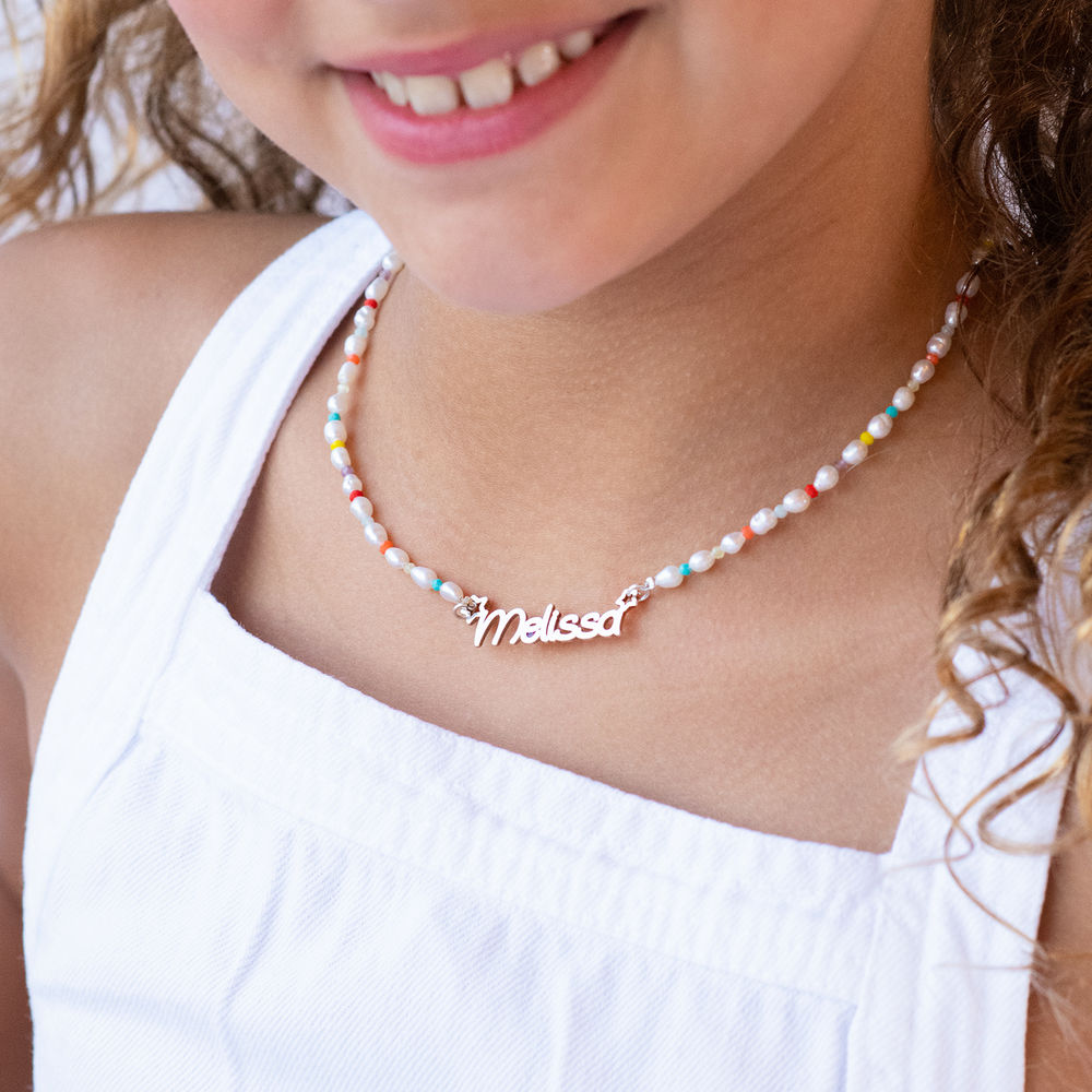 Pearl Candy Girls Name Necklace in Sterling Silver - 2