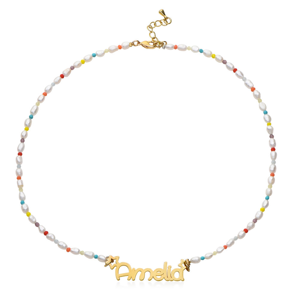 Pearl Candy Girls Name Necklace in Gold Plating - 1