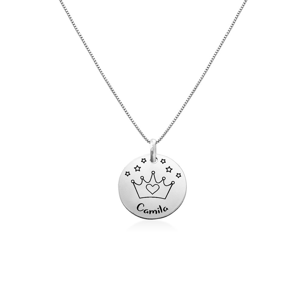 Kids Drawing Disc Necklace in Sterling Silver