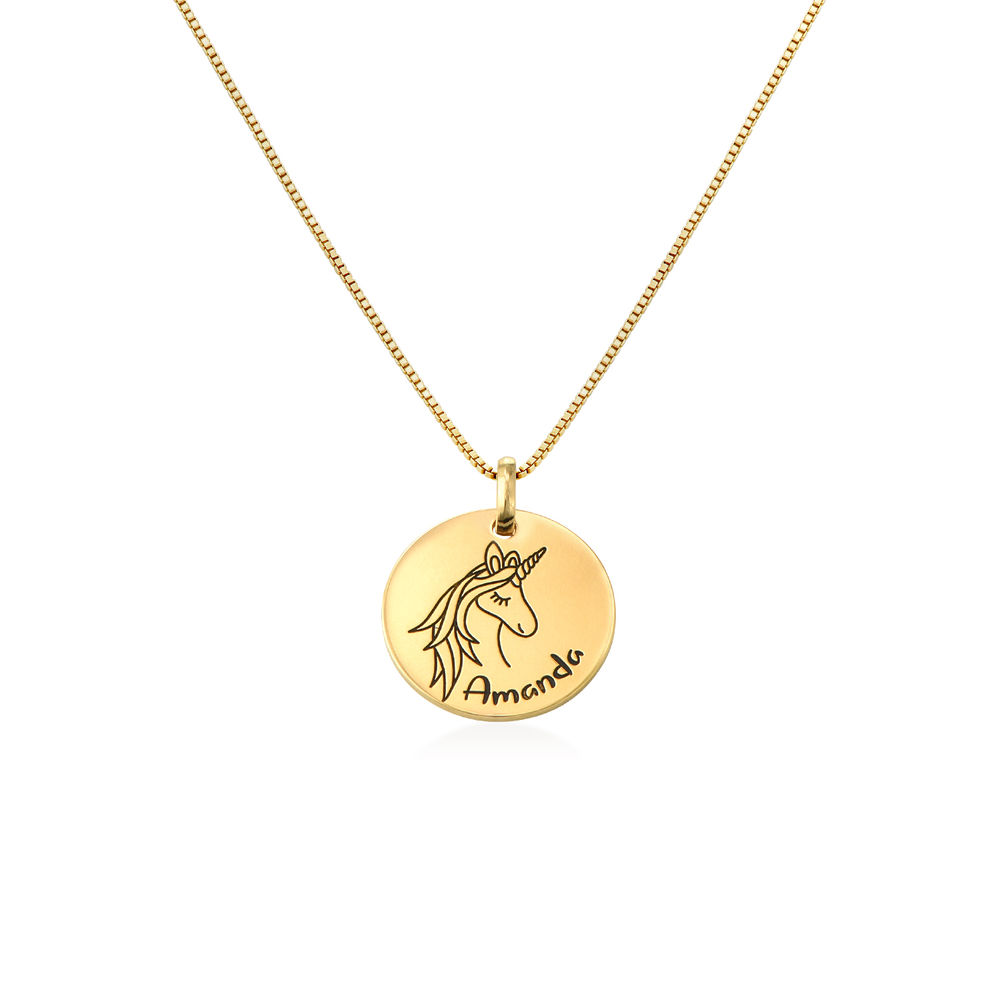 Kids Drawing Disc Necklace in 18K Gold Plating
