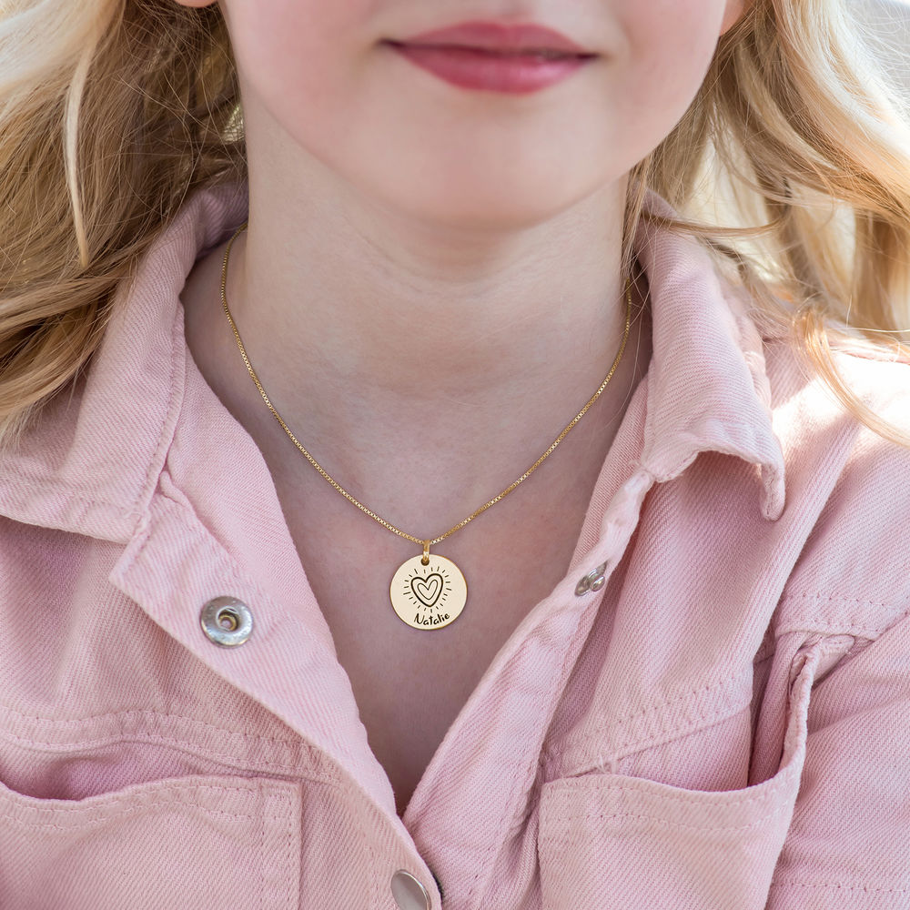 Kids Drawing Disc Necklace in 18K Gold Plating - 3