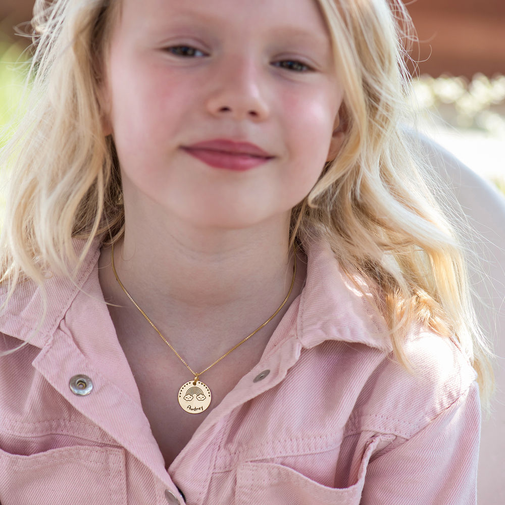 Kids Drawing Disc Necklace in 18K Gold Plating - 4