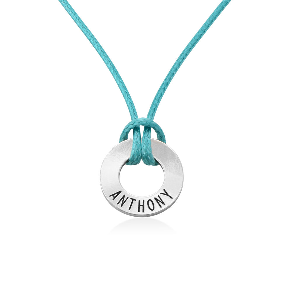 Boys ID Wax Cord Necklace in Sterling Silver - 1