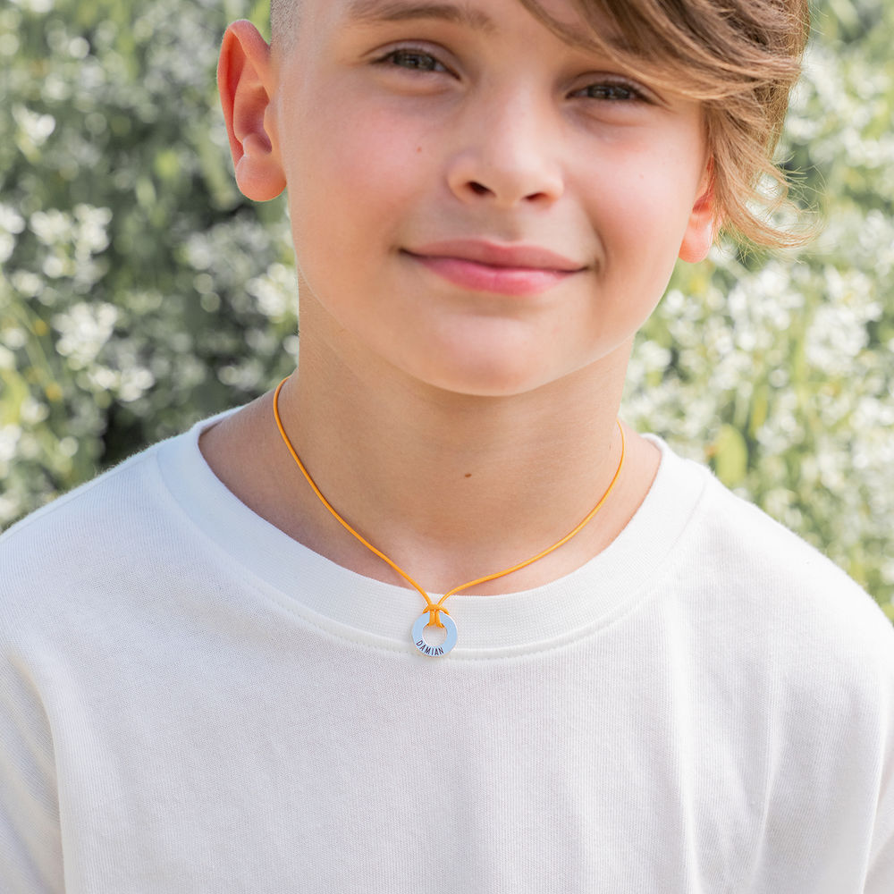 Boys ID Wax Cord Necklace in Sterling Silver - 5