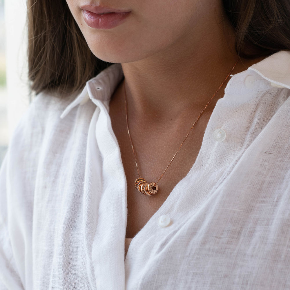 Candy Necklace with Custom Engraved Beads in Rose Gold Plating - 2