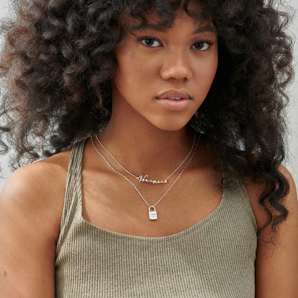 Allie Padlock Link Necklace in Sterling Silver - 3