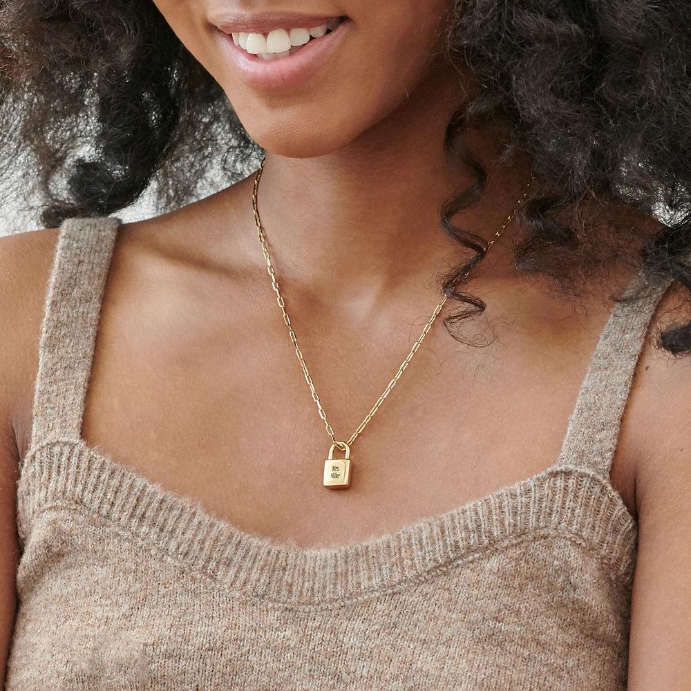 Allie Padlock Link Necklace in Gold Plating - 2