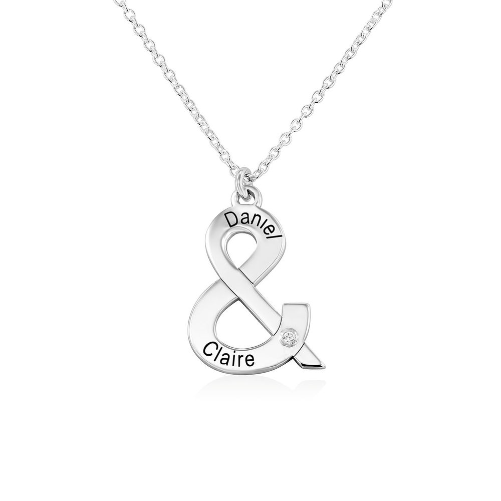 & Sign Custom Necklace in Sterling Silver with Diamond