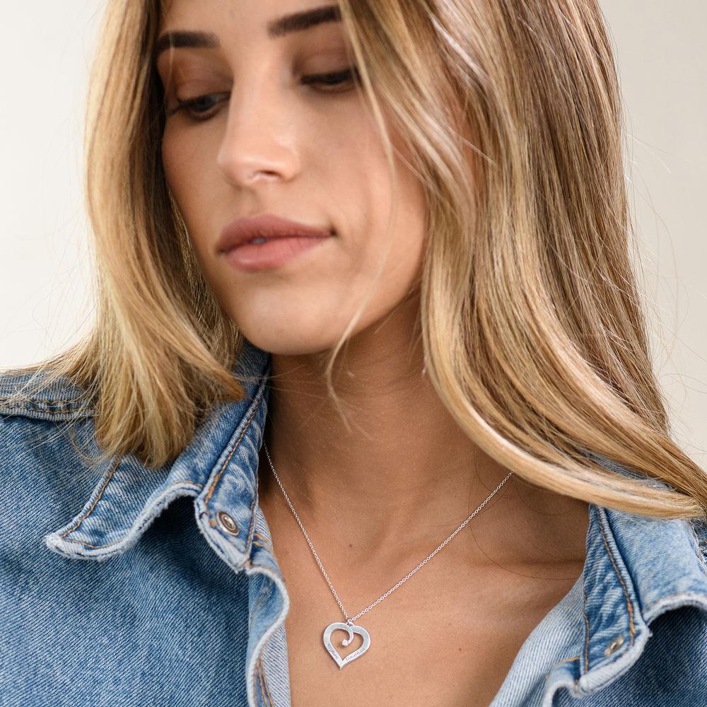 Fine Diamond Custom Heart Necklace in Sterling Silver - 4