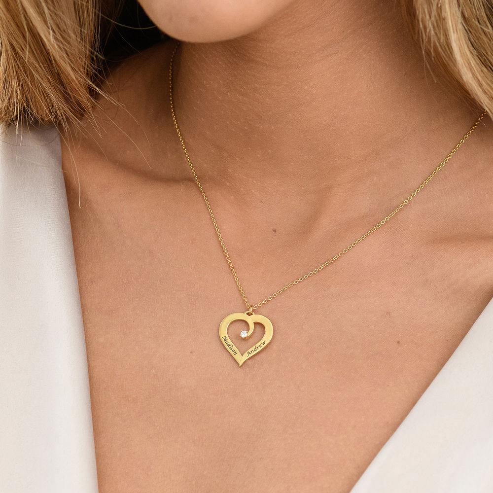 Fine Diamond Custom Heart Necklace in Gold Plating - 3