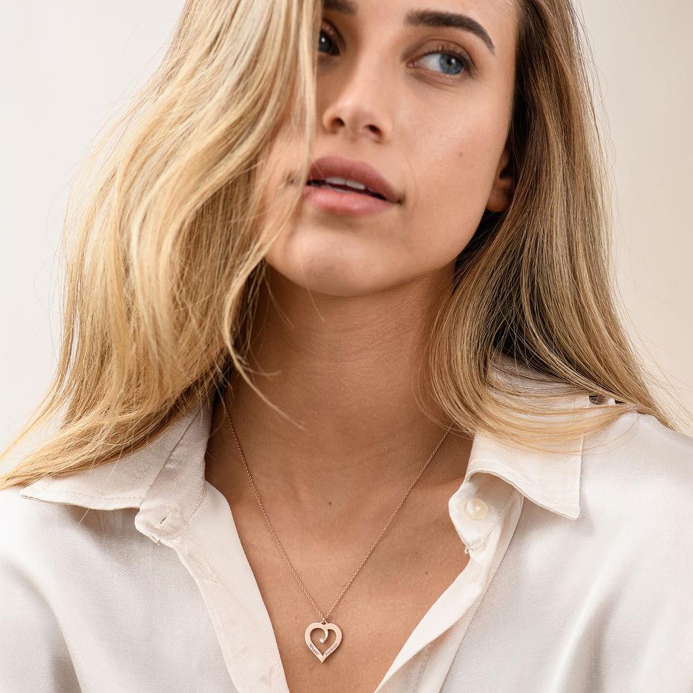 Fine Diamond Custom Heart Necklace in Rose Gold Plating - 2