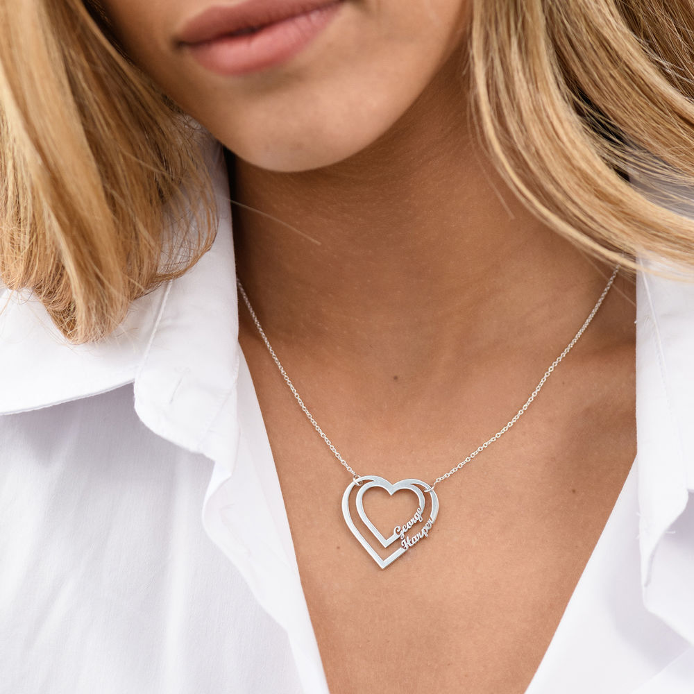 Personalised Heart Necklace with Two Names in Sterling Silver - 2