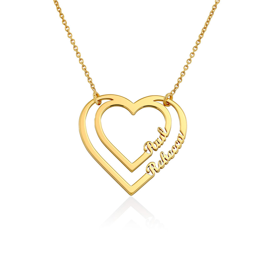 Personalised Heart Necklace with Two Names in Gold Plating