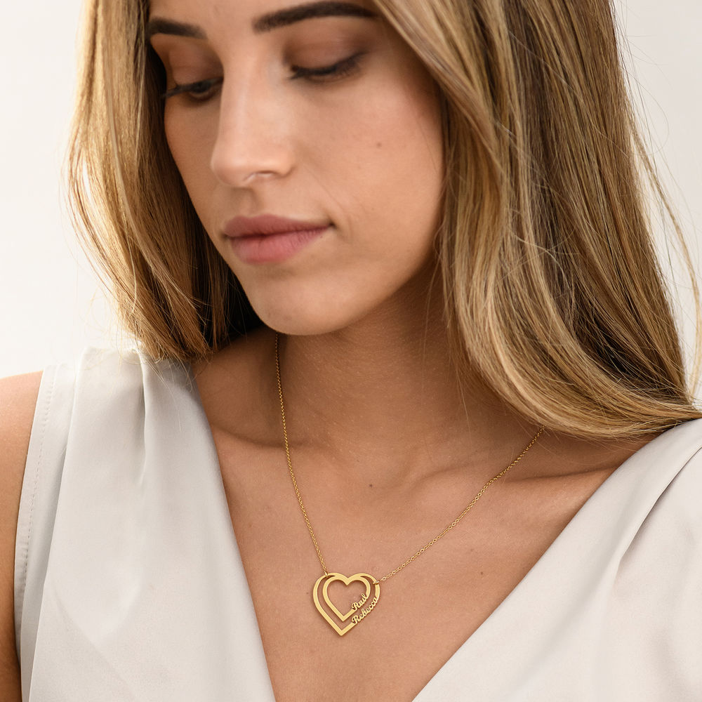 Personalised Heart Necklace with Two Names in Gold Plating - 1