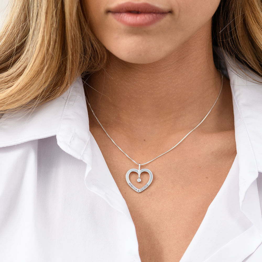 Personalised Love Necklace with Diamond in Sterling Silver - 2
