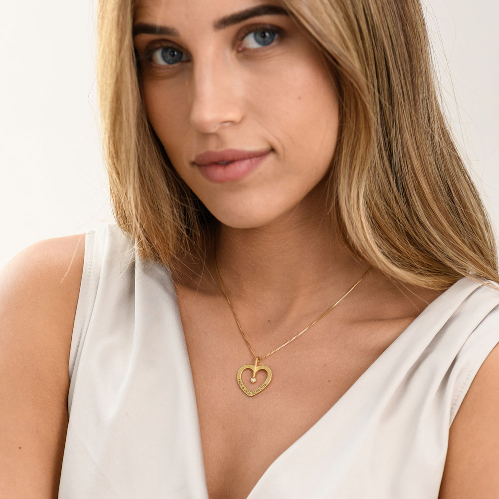 Personalised Love Necklace with Diamond in Gold Plating - 1