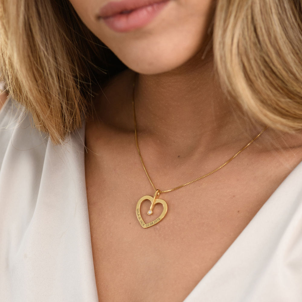 Personalised Love Necklace with Diamond in Gold Plating - 2