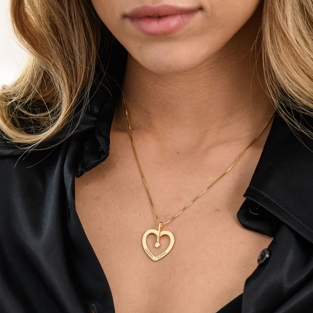 Personalised Love Necklace with Diamond in Gold Vermeil - 2