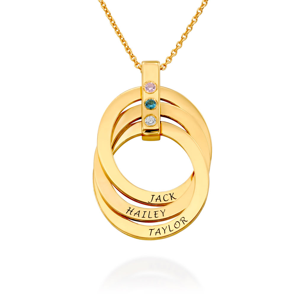 Russian Ring Necklace with Birthstones in Gold Plating