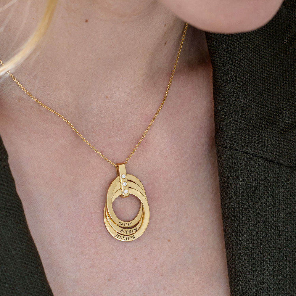 Russian Ring Necklace with Diamonds in Gold Plating - 6