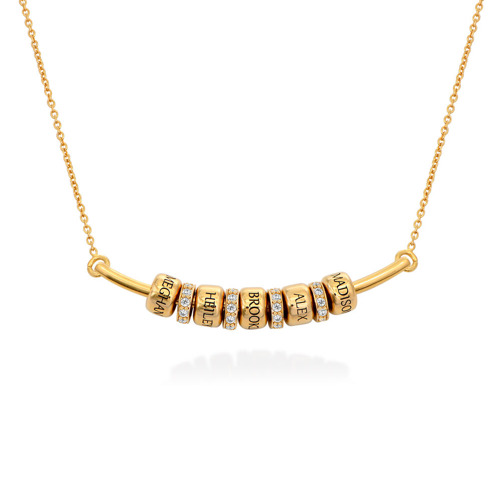 Smile Bar Necklace with Custom Beads in Gold Vermeil