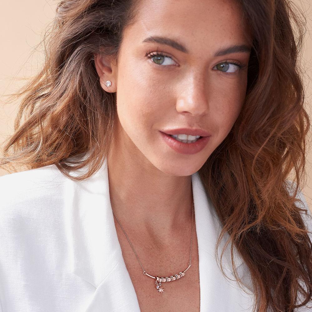North Star Smile Bar Necklace in Rose Gold Plating - 2