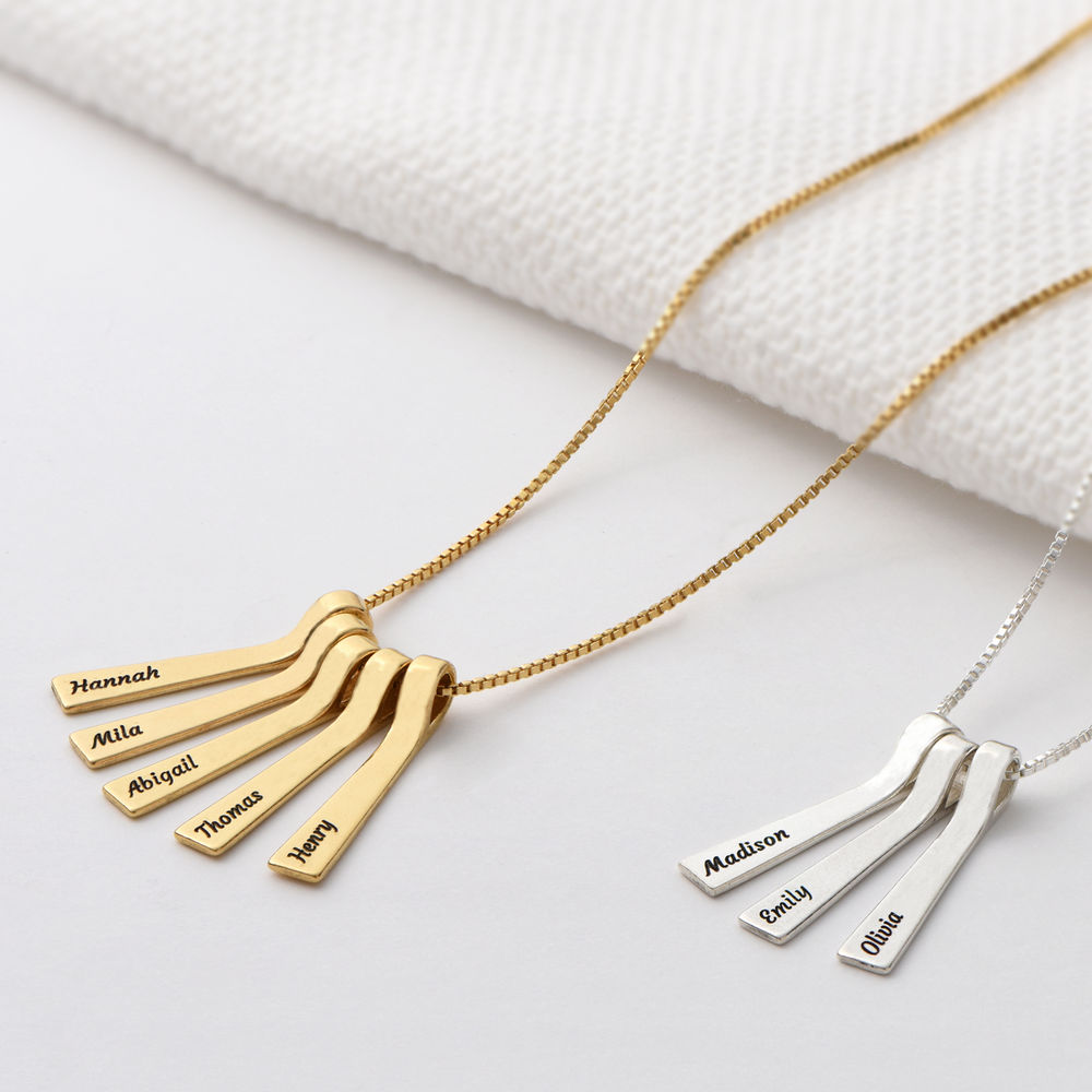 Xylophone Bar Necklace with Kids Names in Sterling Silver - 2