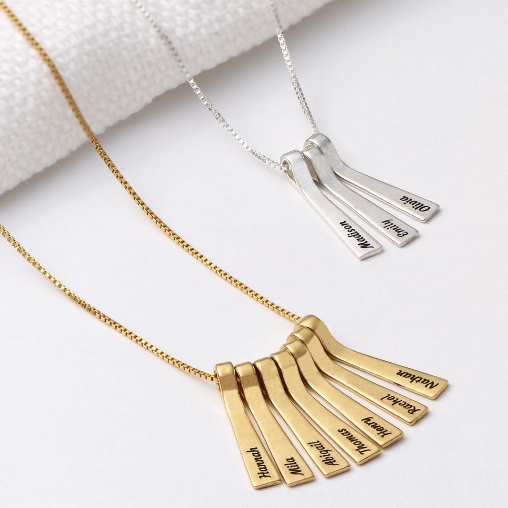 Xylophone Bar Necklace with Kids Names in Gold Plating - 2