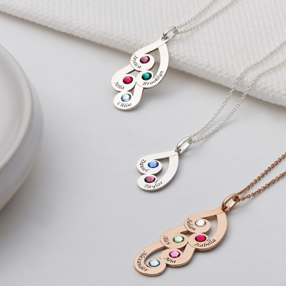 Engraved Family Pendant Necklace with Birthstones in Sterling Silver - 2