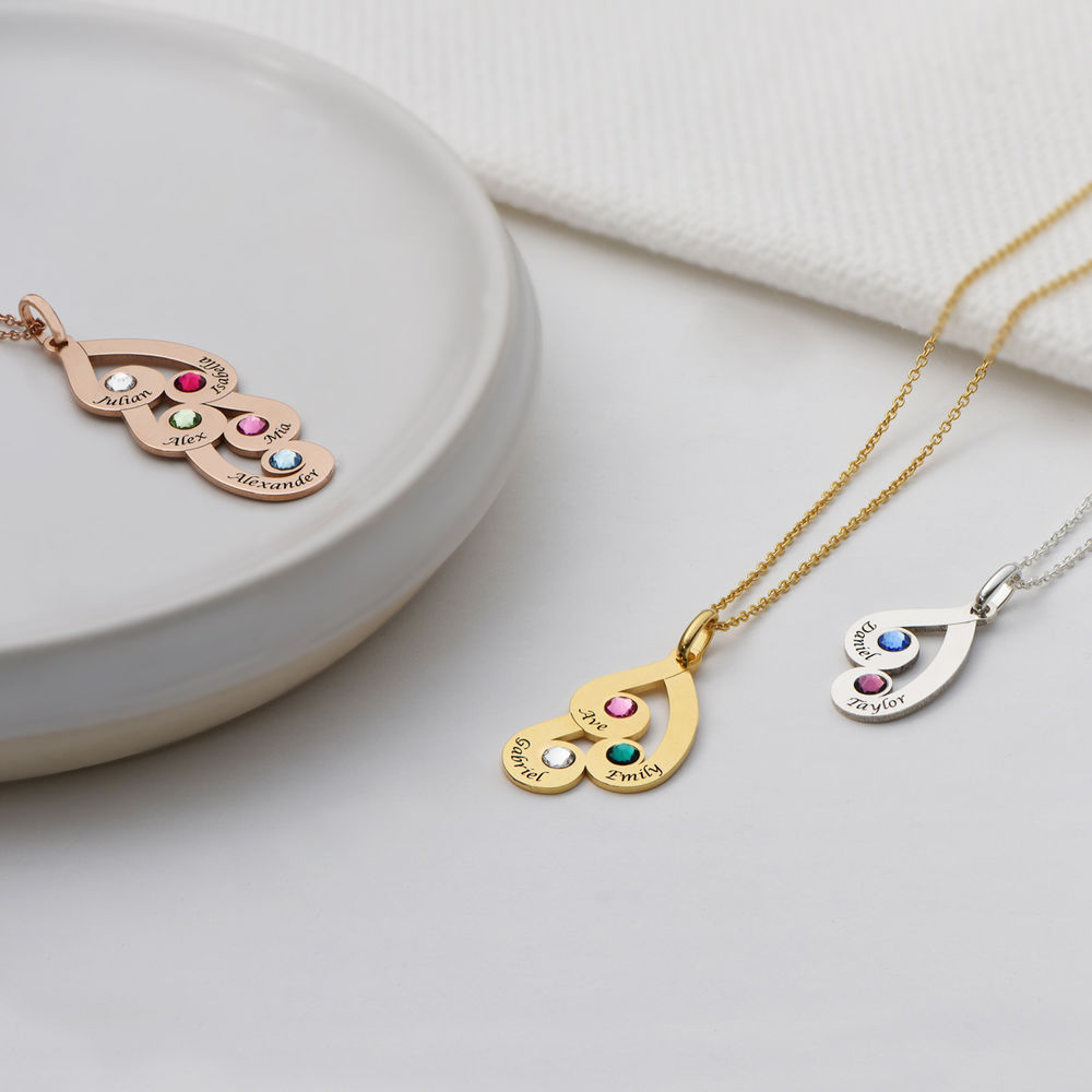 Engraved Family Pendant Necklace with Birthstones in Gold Vermeil - 2
