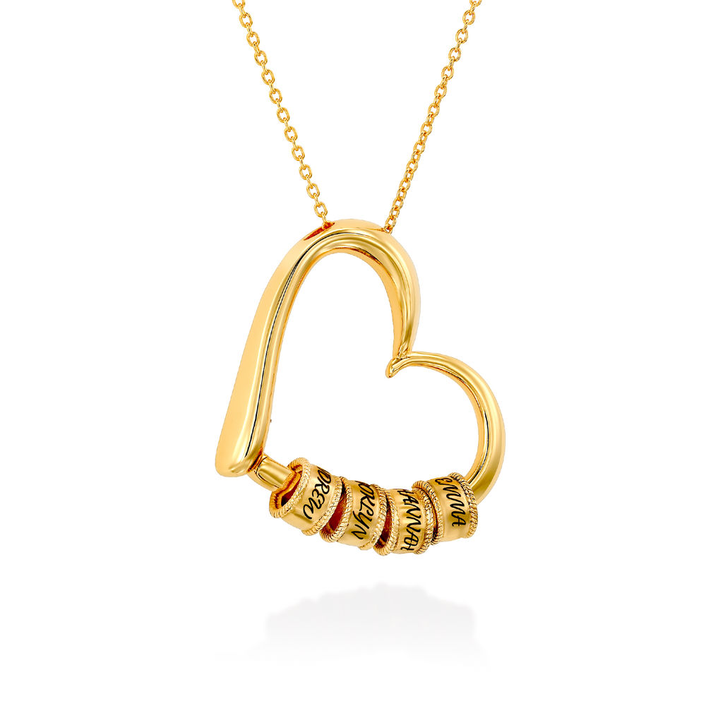 Sweetheart Necklace with Engraved Beads in Gold Plating - 2
