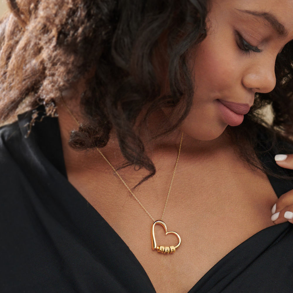 Sweetheart Necklace with Engraved Beads in Gold Plating - 5