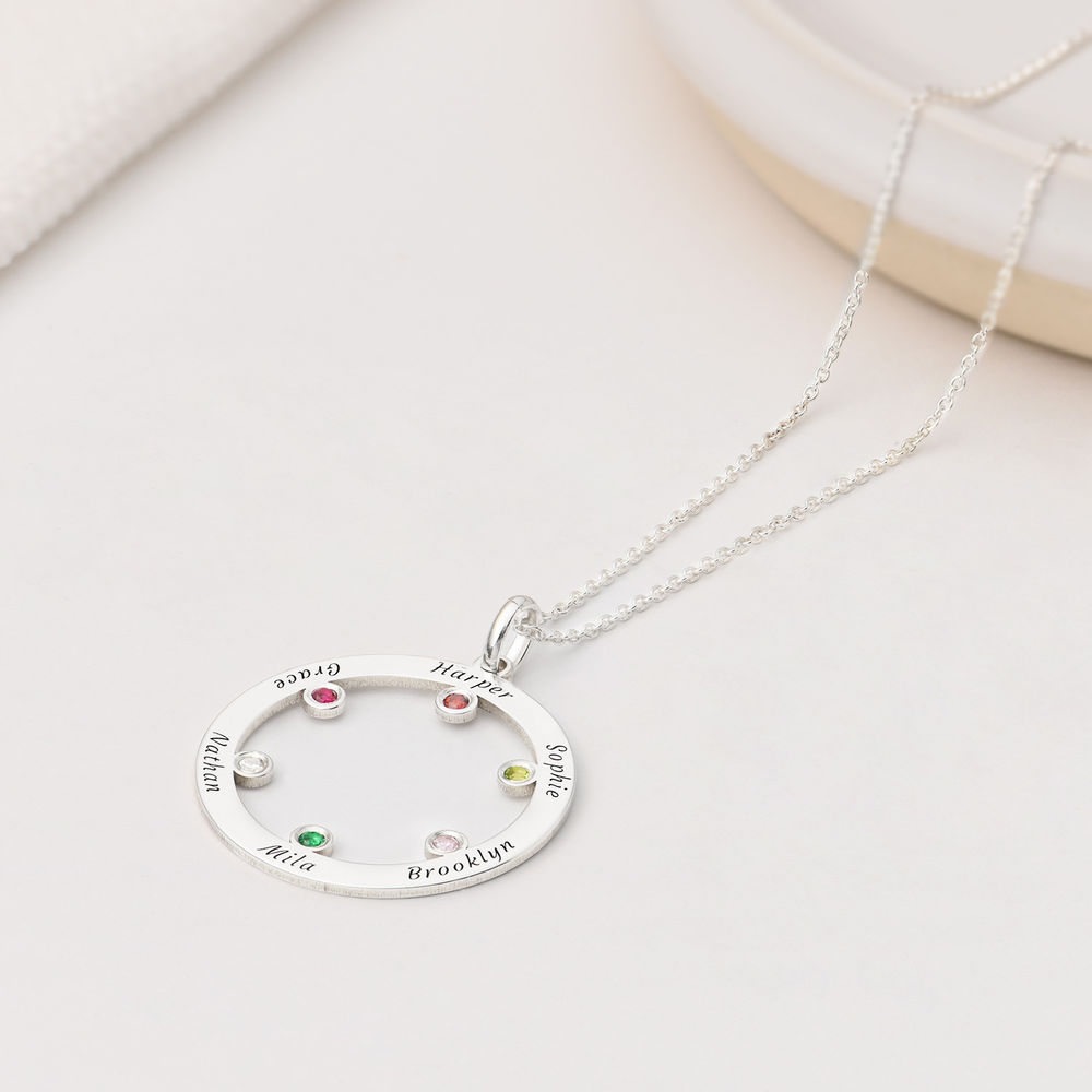 The Family Circle Necklace with Birthstones in Sterling Silver - 1
