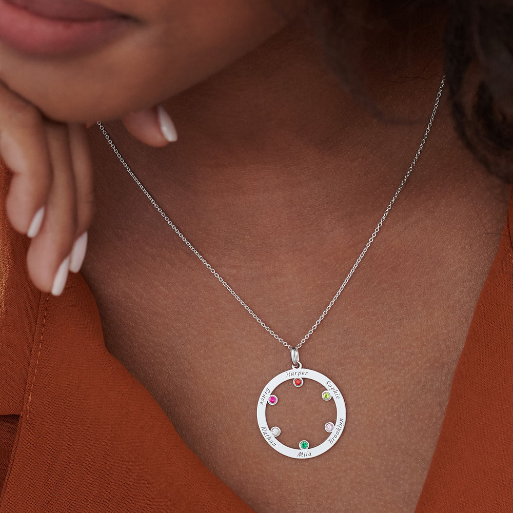 The Family Circle Necklace with Birthstones in Sterling Silver - 3