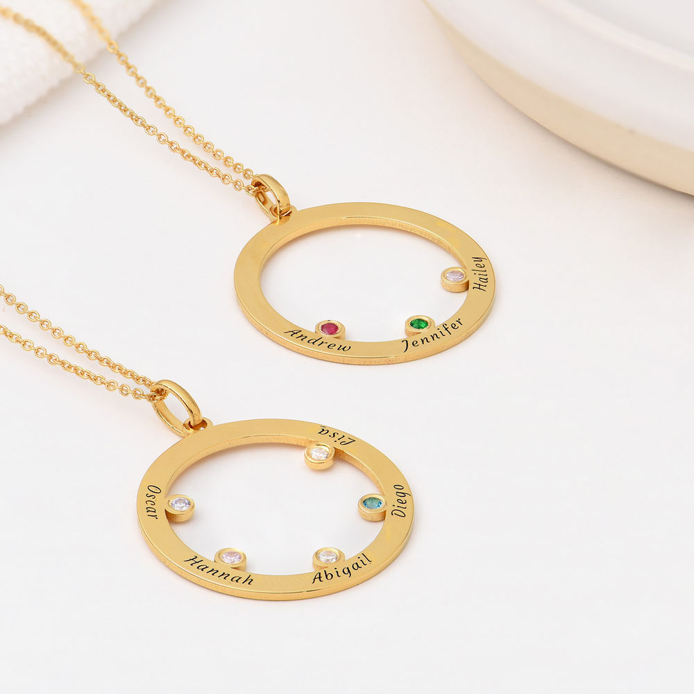 The Family Circle Necklace with Birthstones in Gold Vermeil - 1