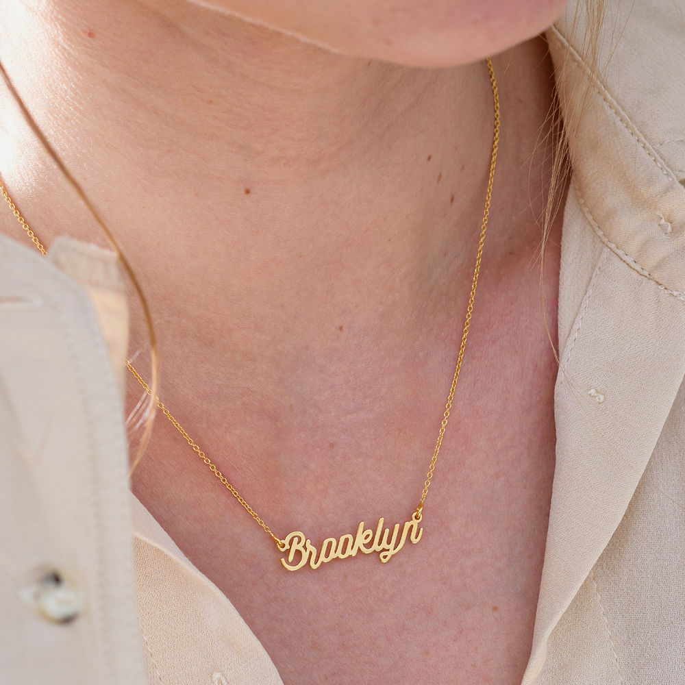 Cable Chain Script Name Necklace in Gold Vermeil - 3