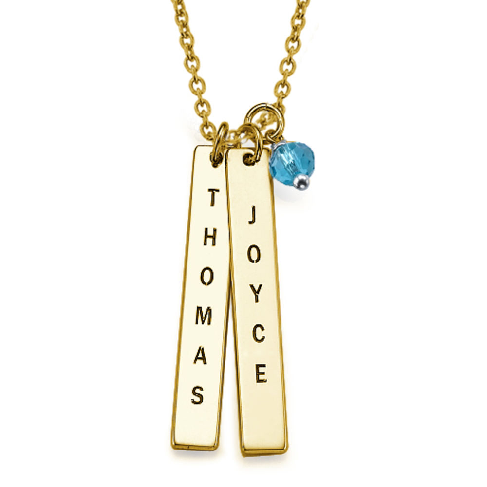 Customised Name Tag Necklace in Gold Plating - 1