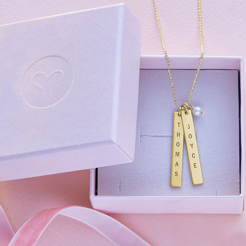 Customised Name Tag Necklace in Gold Plating - 4