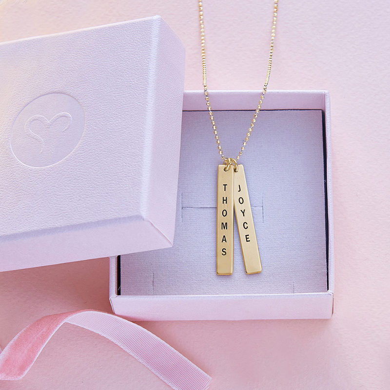 Engraved Vertical Bar Necklace in 10ct Solid Gold - 4
