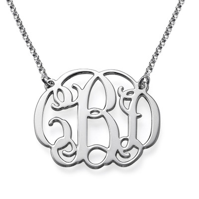 Sterling Silver Celebrity Style Monogram Necklace