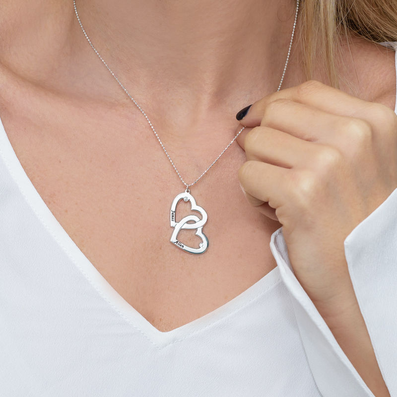 Heart in Heart Necklace in Silver with Diamonds - 2