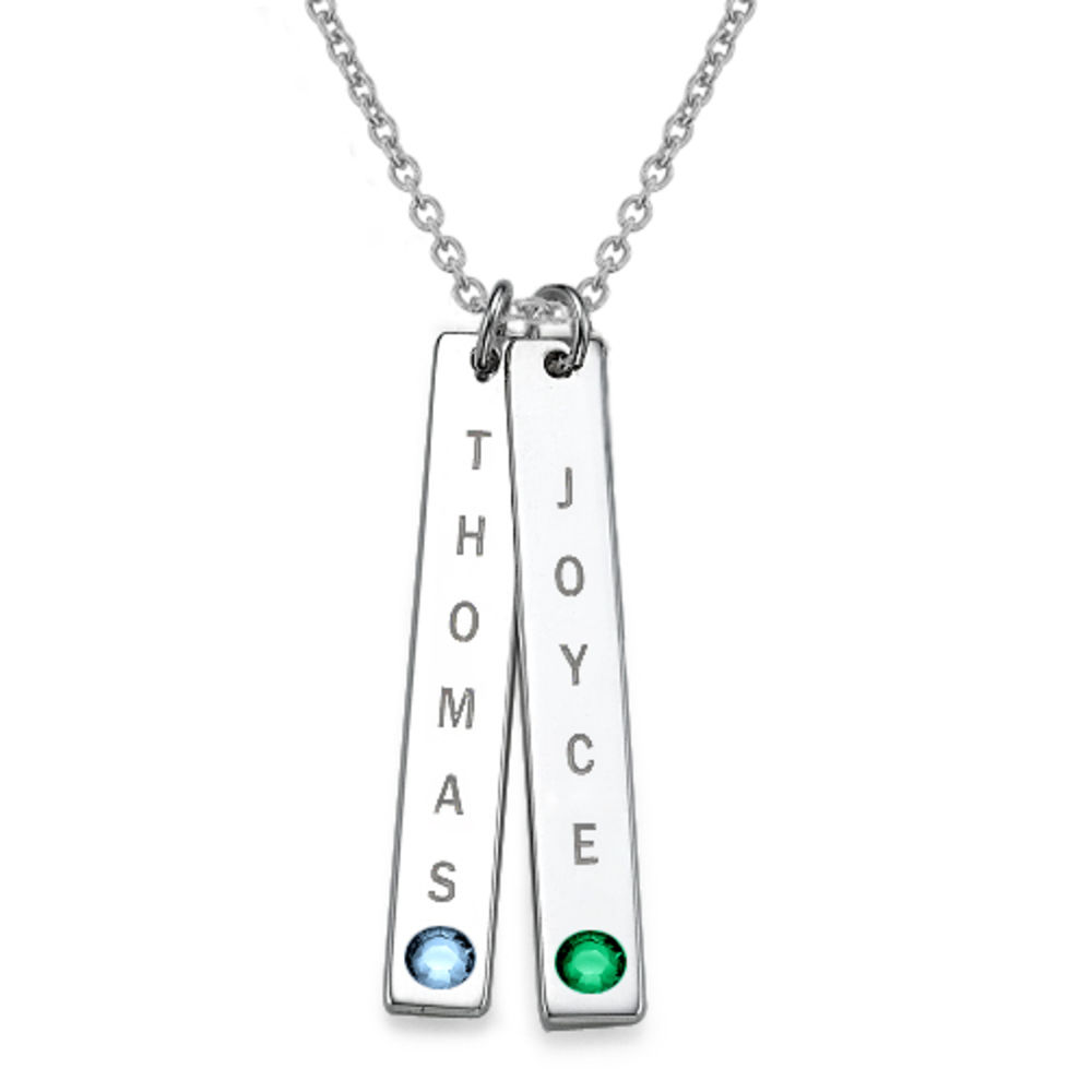 Vertical Sterling Silver Bar Necklace with Birthstones