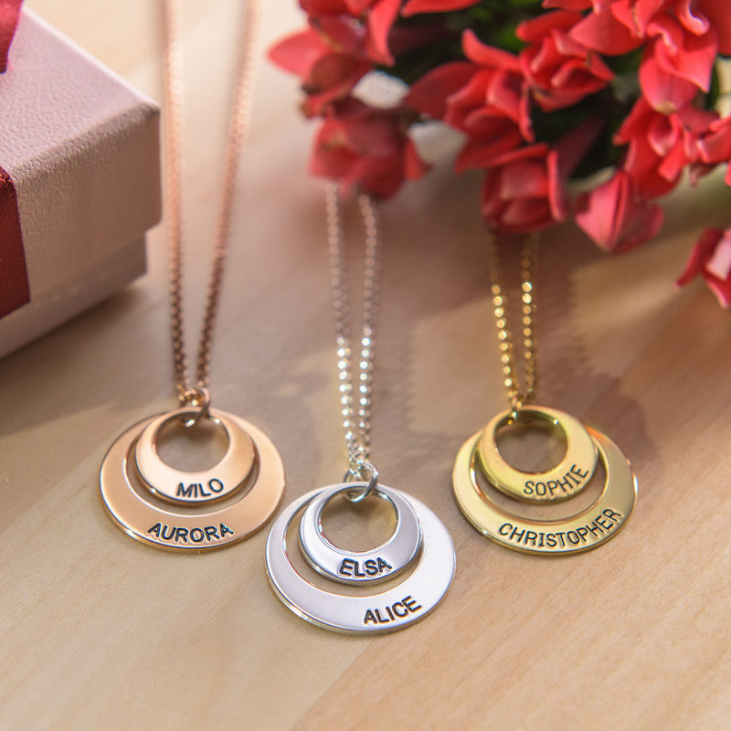 Personalised Jewellery for Mums – Disc Necklace in Rose Gold Plating - 3