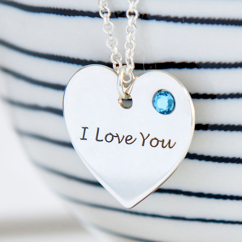 Personalised Heart Necklace with Birthstone Accent - 1