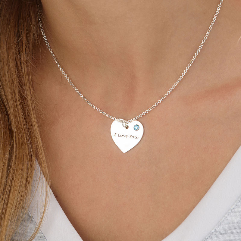 Personalised Heart Necklace with Birthstone Accent - 2