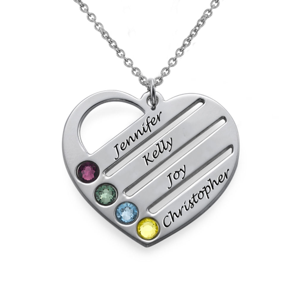 Engraved Names Birthstone Heart Necklace