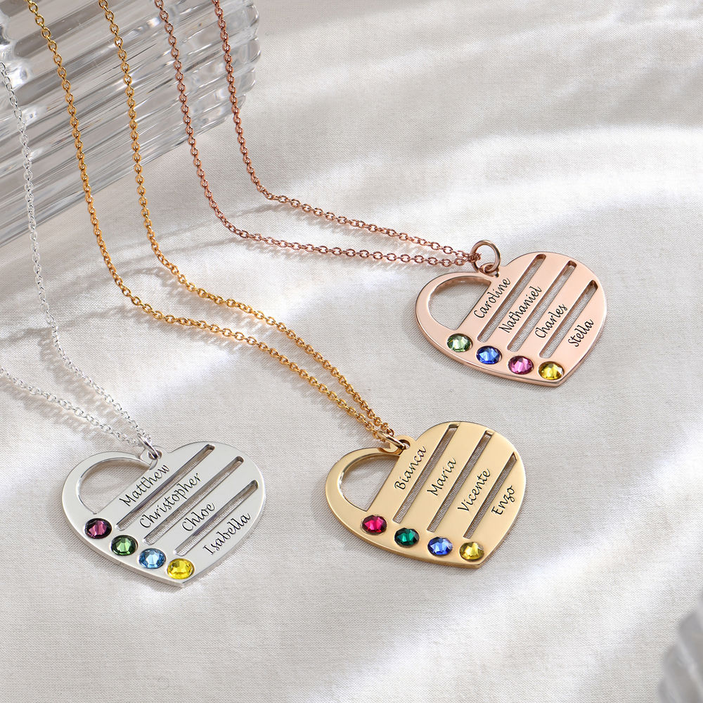 Engraved Names Birthstone Heart Necklace - 1